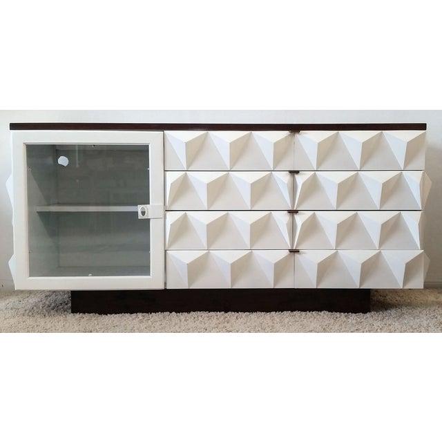 Brutalist Diamond Front Credenza Bar Buffet Unit - Image 5 of 6