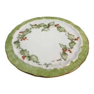 Hand Painted Vintage Holiday Holly and Berry Plate