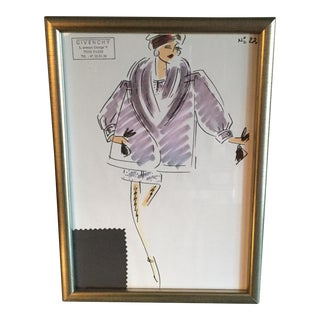 Framed Givenchy Croquis of a Lavender Wool Coat