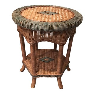 Round Wicker Table with Green Trim and Accents