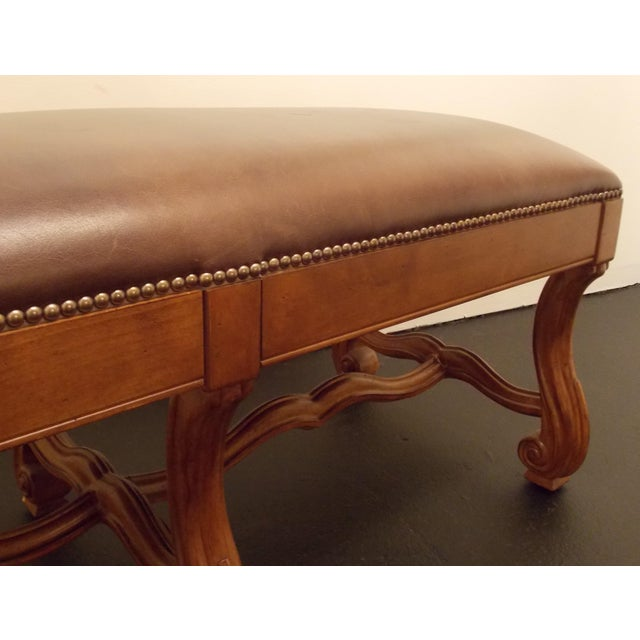Wood and Leather Bench - Image 6 of 8