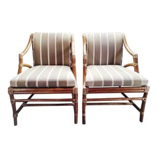 Vintage McGuire Rattan Accent Chairs - A Pair
