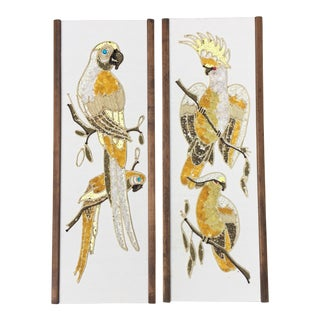 Mid-Century Gold Tropical Bird Pebble Artworks - A Pair