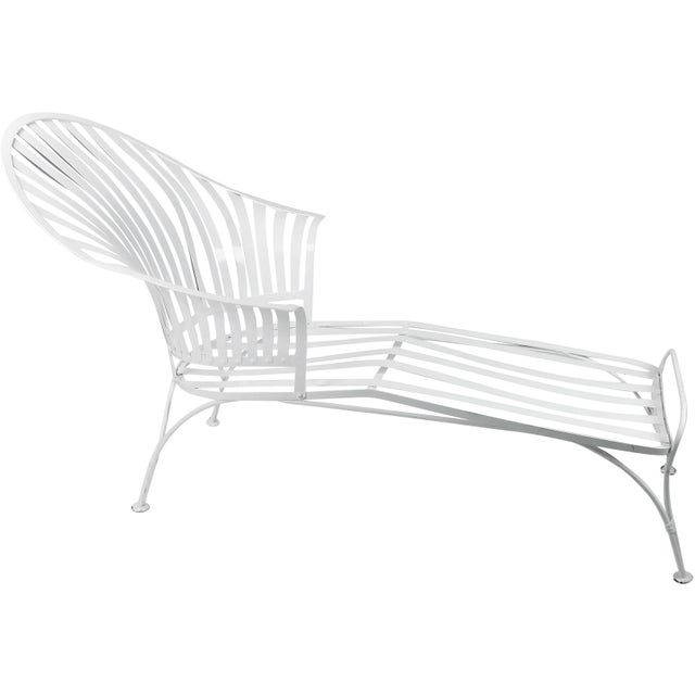 Francois Carre Vintage Fan Back Patio Chaise Lounge - Image 11 of 11