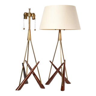 Pair of 'Constructivist' Walnut and Brass Tripod Table Lamps