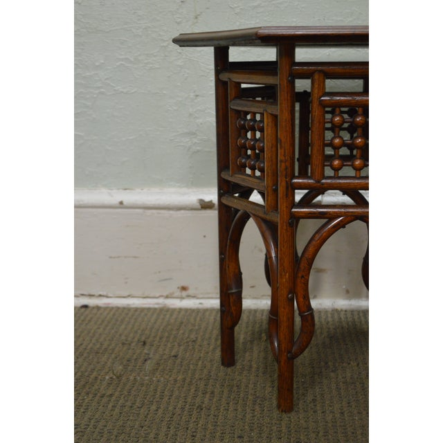 Antique Oak Stick & Ball Hexagon Taboret Plant Stand - Image 9 of 11