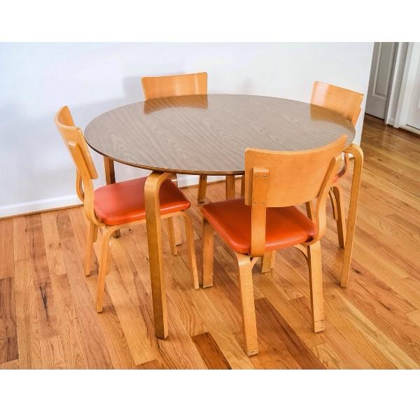 Mid-Century Thonet Bentwood Table & Chairs - Image 2 of 10
