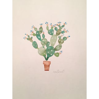 Contemporary Original Cactus Watercolor Painting