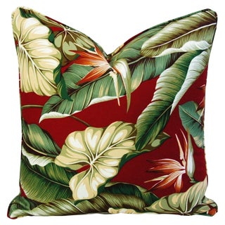 Custom Tailored Bird of Paradise Barkcloth Feather/Down Pillow