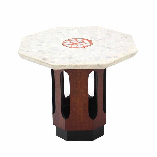 Pair of Octagon Shape Travertine Top End or Side Table on Walnut Bases - Image 3 of 7