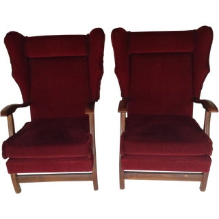 Red Velvet Arm Chairs - Pair