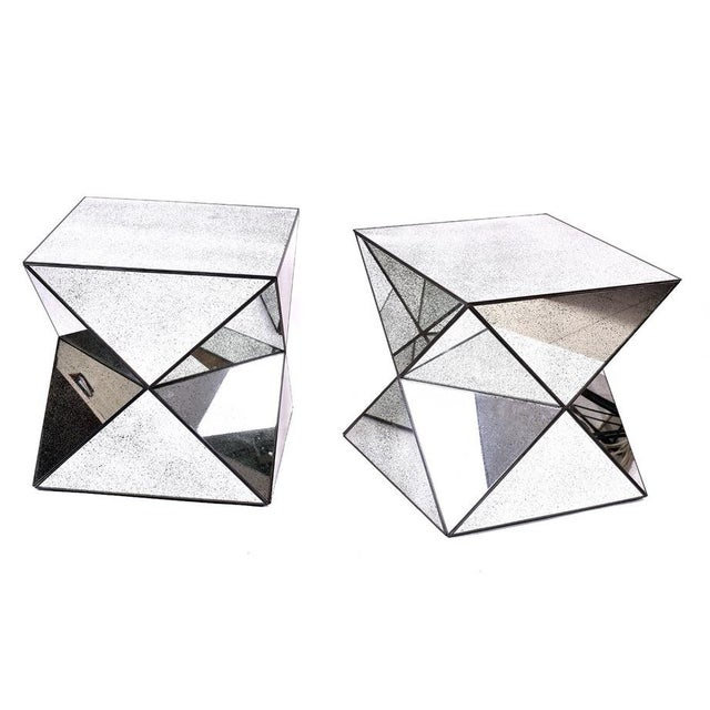 Antiqued Mirror Accent Tables - A Pair - Image 1 of 3