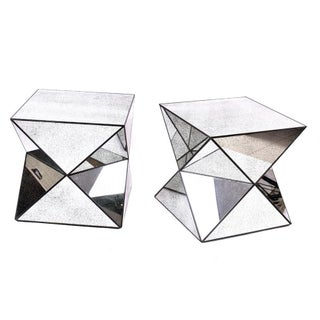 Antiqued Mirror Accent Tables - A Pair