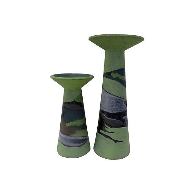 Handmade Partial Glazed Candle Holders - Pair - Image 2 of 5