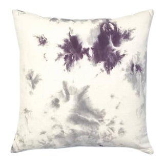 """Hand Dyed Purple Gray Marbled Pillow Cover - 20"""" x 20"""""""