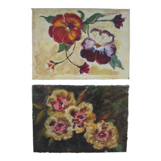Winter Flower Paintings - A Pair