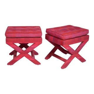 Billy Baldwin Larsen Upholstered X-Benches - a Pair
