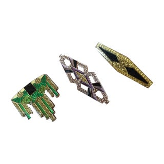 Pierre Bex Art Deco Revival Enamel Brooches Set 3