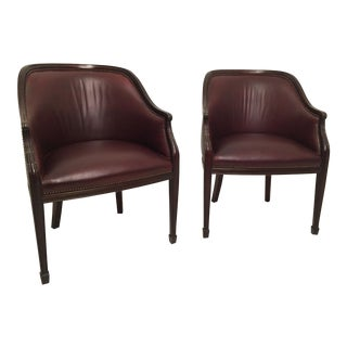 Smith and Watson Burgundy Leather & Mahogany Hepplewhite Tub Chairs - A Pair