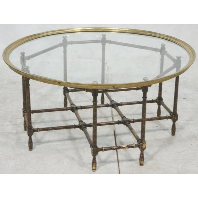 Baker Brass & Glass Tray Top Faux Wood Bamboo Coffee Table, Circa 1960 - Image 2 of 9