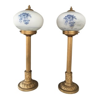 Antique Globe Lamps - A Pair