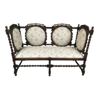 19th Century English Oak Barley Twist Settee