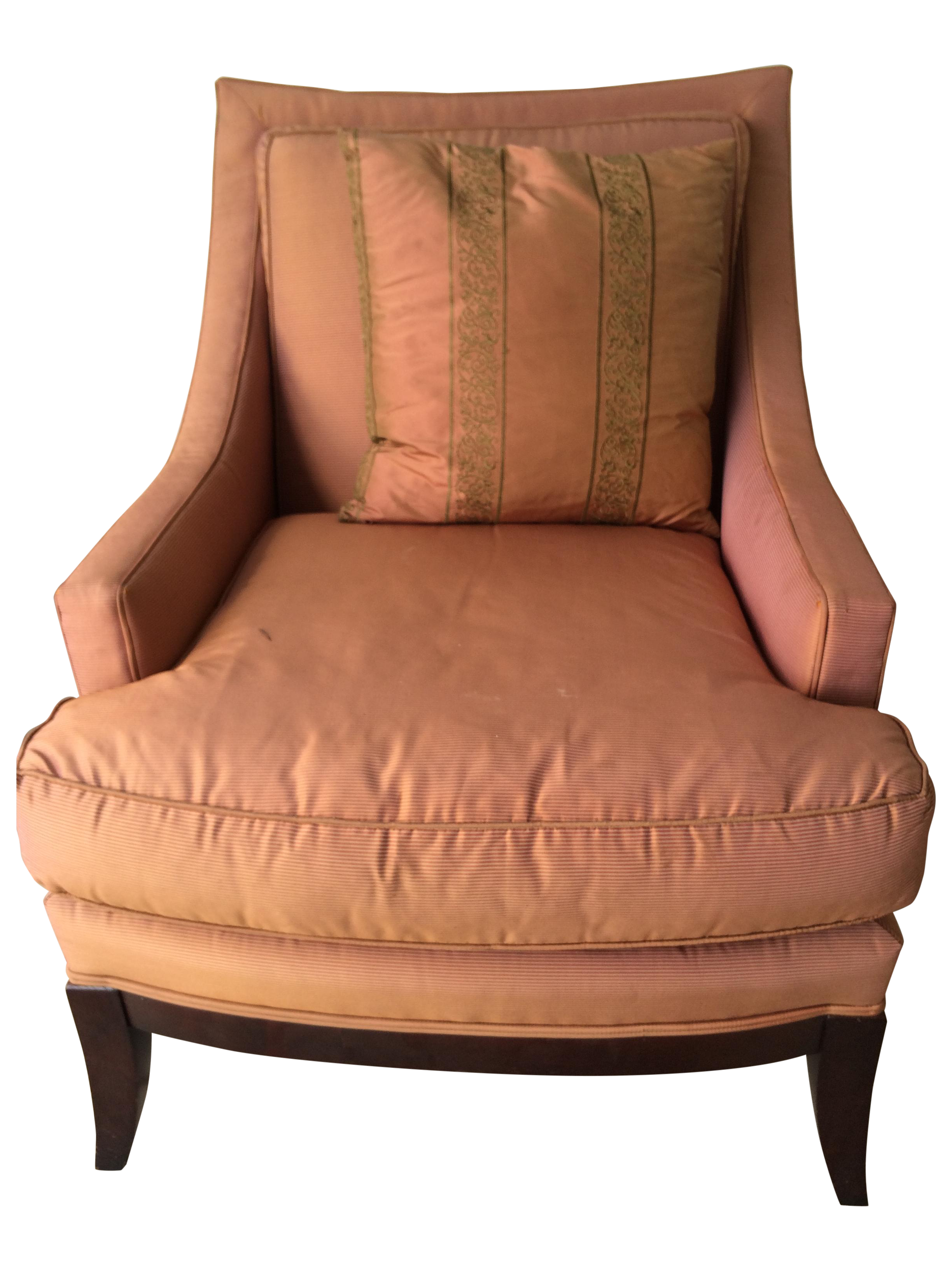 Pink Silk Accent Chair With Pillow