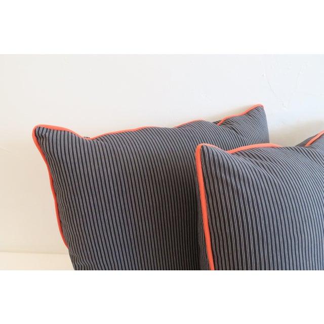 Custom Navy Stripe & Orange Trim Pillows - A Pair - Image 3 of 4