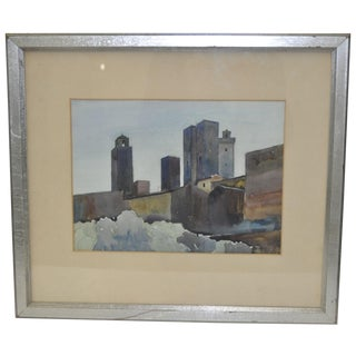 "Richard Lytel Watercolor ""Towers, San Gimignano"""