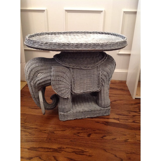 Chinoiserie Palm Beach Wicker Elephant Table - Image 4 of 4