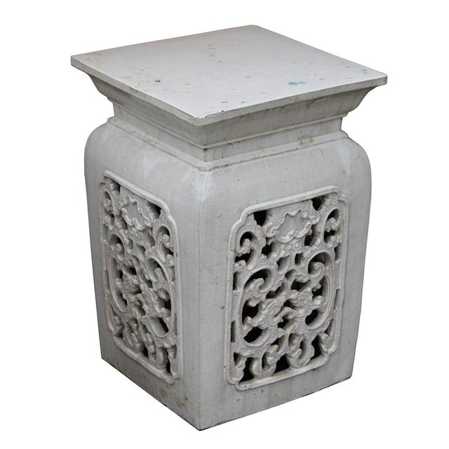 Chinese Off White Ceramic Square Dragon Garden Stool - Image 2 of 7