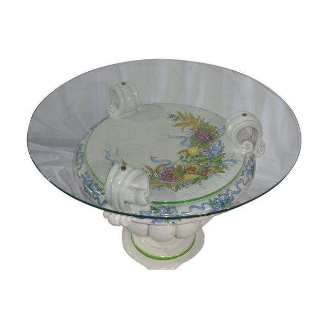 Italian Della Robbia Style Patio Table - Image 1 of 6