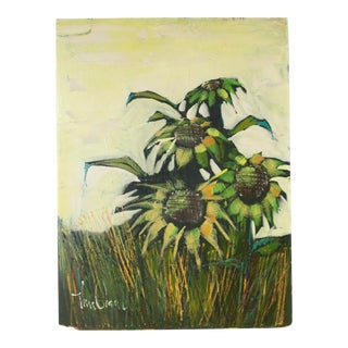 Mid-Century Original Sunflowers Painting on Board