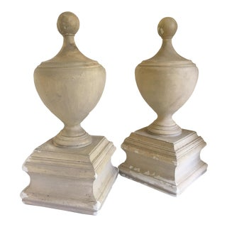 Antique Cast Plaster Pawn Finials - A Pair