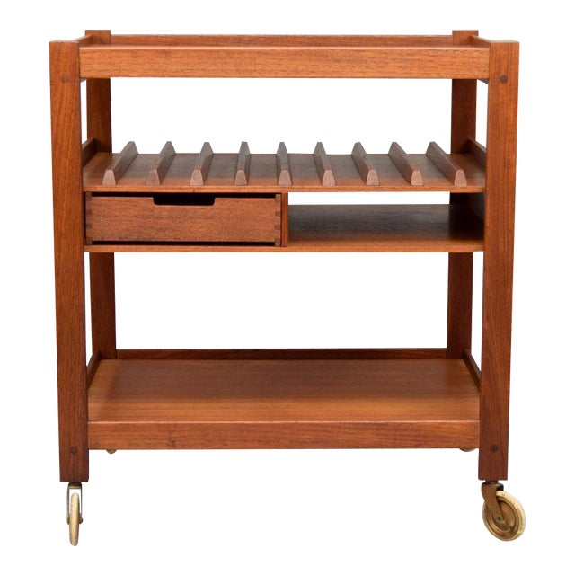 Mid-Century Teak Bar Cart With Reversible Serving Tray - Image 1 of 10