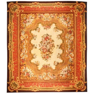 Antique Oversize 19th Century French Aubusson Carpet