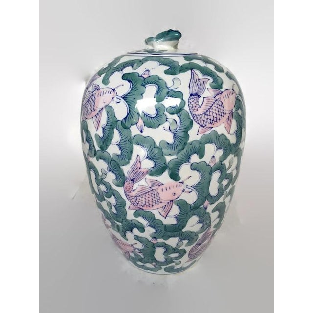 Koi Fish Chinoiserie Ginger Jar Vase - Image 3 of 5