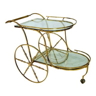 Hollywood Regency Brass Tea Cart
