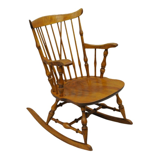 Colonial Traditional Vtg Nichols & Stone Maple Wood Windsor Rocking Chair Rocker - Image 1 of 11