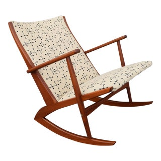 Vintage Georg Jensen for Kubus Danish Mid-Century Boomerang Teak Rocking Chair