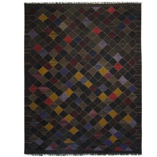 Rug & Relic Turkish Kilim Black Flatweave Rug - 8′3″ × 10′8″