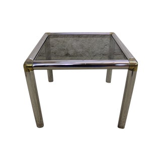 1970's Brass and Chrome Glass End Table