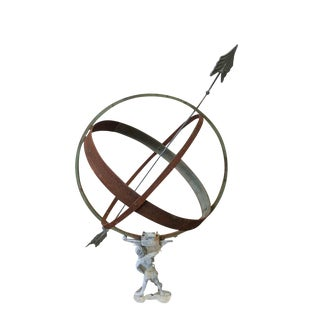 Antique Armillary Atlas Holding the World Globe Sculpture