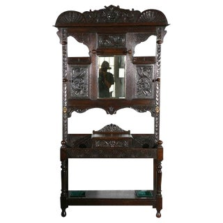 Carved Hallstand with Mirror