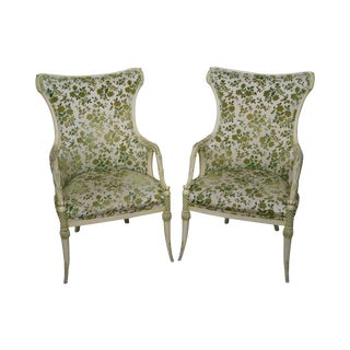Vintage Hollywood Regency Floral Accent Chairs - A Pair