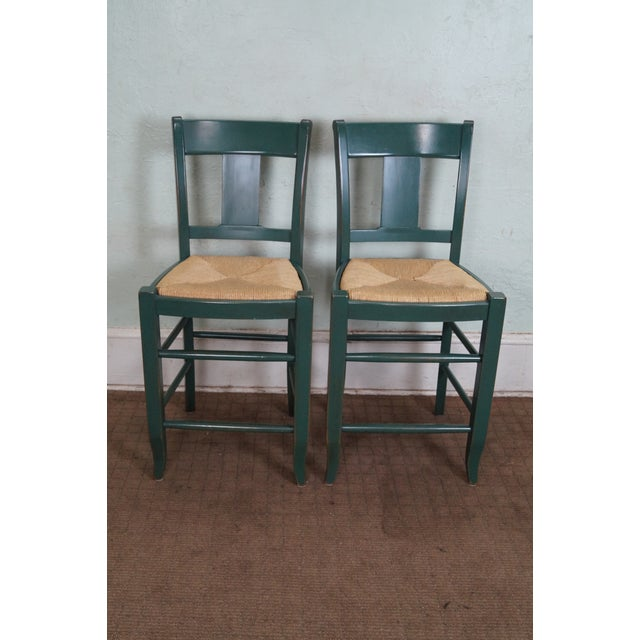 French Country Painted Rush Seat Counter Stools A Pair