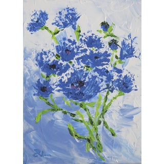 Cornflower Spray Painting by C. Plowden
