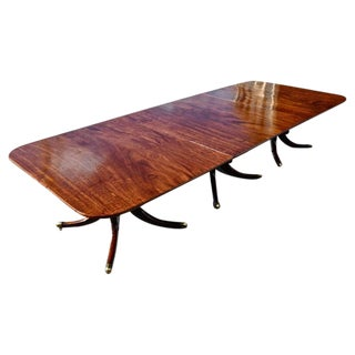 Period Regency Mahogany Triple Pedestal Dining Table