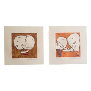 Orange Couples Embrace, Signed Lithographs - Pair
