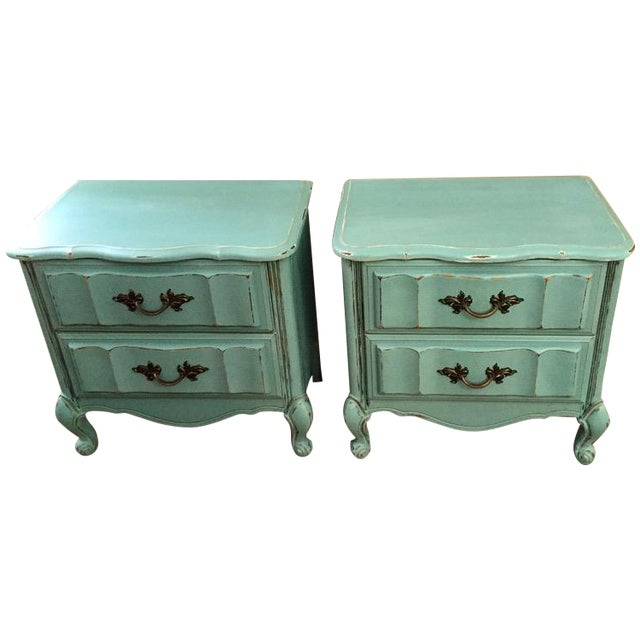 Mint Blue French Provence Nightstands - A Pair - Image 1 of 11